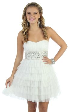 beaded strapless short prom dress with ruffles and tiered skirt