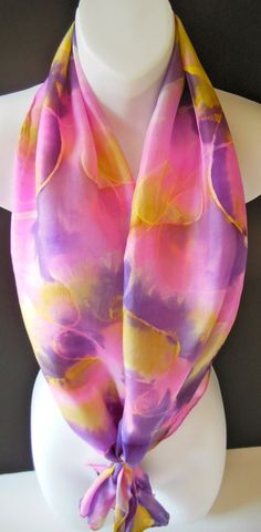 Shades of Lavender SILK SCARF Hand Painted by SilkScarvesJoanReese, $60.00