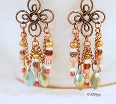 Bohemian Chandelier Earrings Bohemian Copper by CKDesignsUS