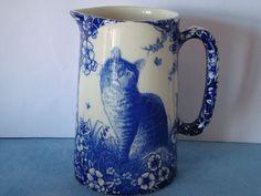Pint Blue Victorian Cat Milk Jug (Heron Cross Pottery. Made In England)