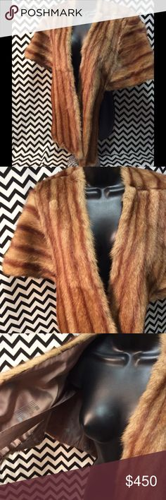 100% authentic mink fur stole Size small/medium in mint condition Gorgeous vintage mink stole in Autumn Haze color from an exquisite Pennsylvania Estate collection. It has a very large shawl collar, and is lined in taupe silk satin. Mink Jackets & Coats Capes