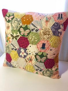Fairytale Quilted Pillow Case Hexagon Paper Pieced