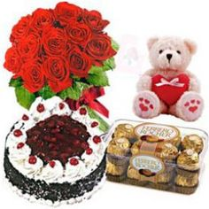 "Regular Combo Consists of Cake,16 Pieces Ferrero Rocher Chocolates,12 Red Roses Bouquet and 10""Teddy Bear with Low Price. Shop2Hyderabad can Provide this Combo Along With Free Greeting card. The Regular Combo is as Pretty for Looking. Send Roses Bouquet Online and the Joyous Occasion of your Dear Ones Through our Shop2Hyderabad. Avail Same Day Delivery and Midnight Delivery Service."