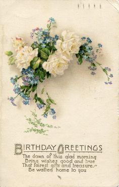blue vintage postcards | Collection of Vintage Floral Birthday Postcards – Part 3