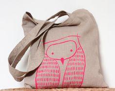 Neon Pink Owl Tote Bag - Natural Linen Owl Tote Bag - Gift under USD35. €27.00, via Etsy.