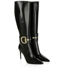 Gucci  Malaga Kid Stiletto Boot Black  Shoe ($1,320) ❤ liked on Polyvore featuring shoes, boots, black, knee-high boots, black boots, zipper boots, black leather knee high boots, leather boots and black leather shoes