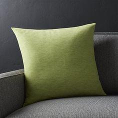 "Linden Leaf Green 18"" Pillow | Crate and Barrel"
