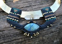 Macrame bib necklace Stiff tribal necklace Labradorite от BySinuhe