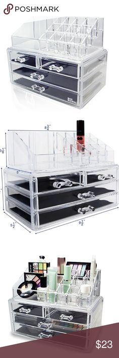 Makeup Organizer Two pieces set organizes all jewelry and cosmetics in one place.  - Pink and acrylic colors are available   - It made of durable clear plastic material   - Removable black mesh padding keeps jewelry protected and in place. Completely removable drawers slide out smoothly.  - Good for your cosmetics products to stay organized 💕 💖 Ikee Bags Cosmetic Bags & Cases