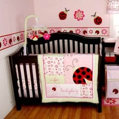 Ladybug nursery wall painting and decorating ideas. Ladybug decorations and crib bedding sets. Mod ladybug nursery bedding, baby room designs and decor. Ladybug Room, Ladybug Nursery, Baby Ladybug, Ladybug Decor, Pink Ladybug, Baby Girl Nursery Themes, Baby Nursery Themes, Baby Room Decor, Nursery Ideas
