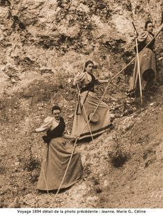 A family adventure: Celine Martin, St. Therese's sister is at the top of this photo.  Her cousins Marie and Jeanne  Guerin are below.