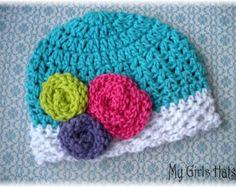 Jelly Bean-Crochet Stripe Hat-Aqua-White-Pink-Purple-Green w/ Attached Rolled Knit FLowers-Girls Hats/Beanie-Toddler Hat-Baby Hat-Winter Hat