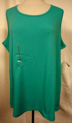 Hastings & Smith Woman Cotton Blend Stretch Knit Top Aqua Sleeveless Sz 2X NEW #HastingsSmithWoman #SleevelessKnitTop #Versatile #style #fashion #career #summer