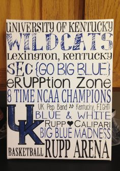 9 x 12 Subway Art Canvas - Kentucky Wildcats 'Rustic' Looking $22 by Creations by CLM on Etsy.