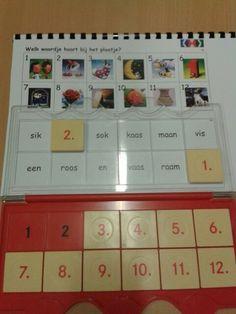Zelfgemaakte kern-miniloco met woorden en stickers uit het ringboekje van VLL. Gevonden op http://leermiddel.digischool.nl/po/ en aangepast