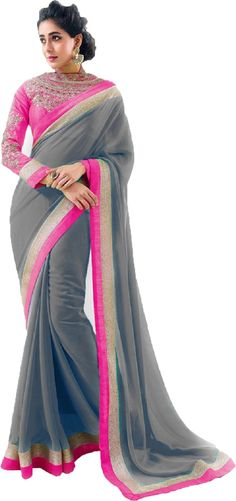 #WithBlousePiece #Bollywood #Sari #Georgette #Grey #neon #Women #saree #style