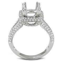 Elora 18k White Gold Diamond Semi Mount Ring (No Center Stone) (H-I, I1-I2) (Size 6, White Gold)