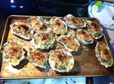 Grilled Oysters Rockefeller, good technique pin for this food Fish Dishes, Seafood Dishes, Seafood Recipes, Shellfish Recipes, Sushi Recipes, Grilling Recipes, Cooking Recipes, Good Food, Yummy Food