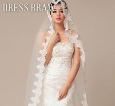 Graceful Chapel Wedding Bridal Veil with Lace Applique Edge, now only $45.99 on dressbraw!