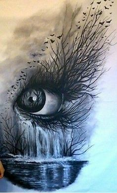 Fantastic fantasy added a new photo. Pencil Art Drawings, Art Drawings Sketches, Cool Drawings, Pretty Drawings, Art Du Croquis, Eyes Artwork, Anime Artwork, Eye Art, Surreal Art