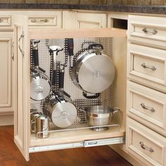 "Rev-A-Shelf Base Organizer with Stainless Steel Panel 8"" -Wood 444-BC-8SS 
