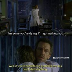 A blubbering Wilson and sarcastic House. House Md Funny, House Jokes, House And Wilson, House Md Quotes, Medical Series, Everybody Lies, Robert Sean Leonard, Gregory House, Z Nation