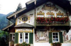 Little Red Riding Hood fresco in Oberammergau, Bavaria, Germany.