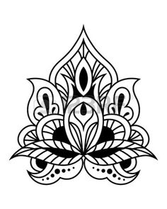Bold black and white calligraphic floral design element in persian or indian style Stock Vector