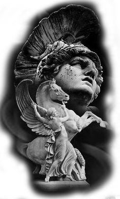 Mais de 100 Desenhos para Tatuagens Realistas | Tatuagens - Ideias God Tattoos, Body Art Tattoos, Sleeve Tattoos, Zeus Tattoo, Statue Tattoo, Pegasus Tattoo, Greek God Tattoo, Greek Mythology Tattoos, Ancient Greek Sculpture