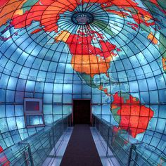 interior viewing bridge of the Mapparium, a three story stained glass globe built 1935 at the Mary Baker Eddy Library (Christian Science Church) in Boston, MA