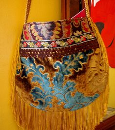 Brown and Gold velvet  Bag. .