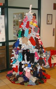 mitten tree. hats, mittens and scarves can be donated to those in need