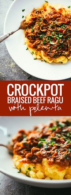 For an easy entree that will impress your whole dinner party, try this flavorful slow cooker Beef Ragu over Polenta from @pinchofyum.