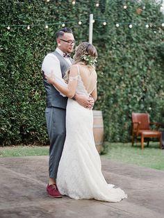 The Bride and Groom Shared Two First Dance Songs!  https://heyweddinglady.com/modern-ranch-chic-northern-california-wedding/    #wedding#weddings#weddingideas#engaged#realweddings#weddingday#ranchwedding#rusticwedding#bohemianwedding#firstdance