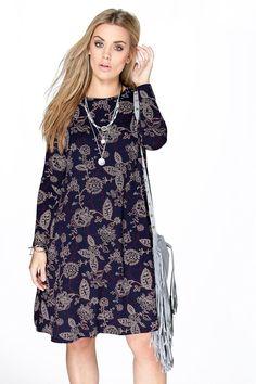 Plus Kate Floral Long Sleeve Swing Dress