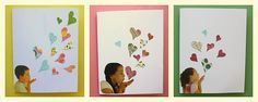 Last minute Mother's Day card.  Floating hearts #blowingkisses Havingfunathome.com