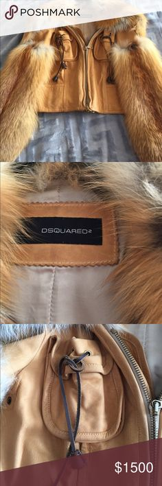 DSquared2 Fox Leather Jacket DSquared2 Fox Leather Jacket. Would fit someone 2-4. See photos for signs of wear. Please do not offer low prices! This is $3500+ jacket that is priced reasobly and to sell based on sugns of wear! DSQUARED Jackets & Coats