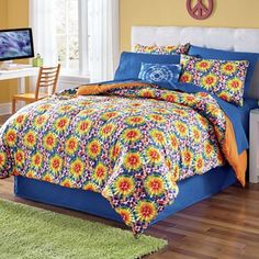 Comforters - Add a burst of color to your bedroom! Our color-coordinated Complete Bed Set gives your bedroom a fabulous, EASY mini makeover. Flat Sheets, Window Treatments, Bedding Sets, Decorative Pillows, Mattress, Comforters, Pillow Cases, Interior Decorating, Tie Dye