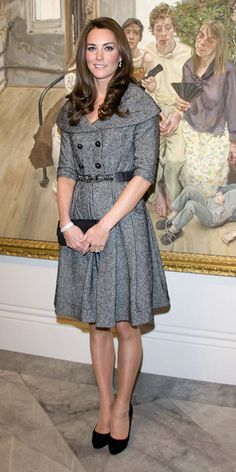 FEBRUARY 8, 2012 For her first solo appearance since her wedding to Prince William, Kate Middleton attended an opening at London's National Portrait gallery wearing a gray Jesire coat dress.
