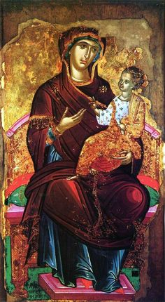 """Attributed to Theophanes the Cretan (Theophanes Strelitzas aka Bathas, or his workshop. Gregoriou monastery, Mt Athos, Greece): Virgin Mary """"Hodegetria"""" (ca. Byzantine Icons, Byzantine Art, Byzantine Mosaics, Religious Icons, Religious Art, Russian Icons, Religious Paintings, Best Icons, Holy Mary"""