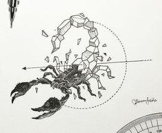 Эскиз геометрического скорпиона