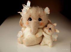 Купить Слоник и зайка с бабочками. Игрушка из шерсти. - комбинированный, игрушка слоник, игрушка зайка