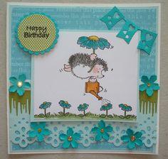 G133 Hand made Birthday card using Penny Black Tender Shower stamp