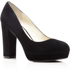 Bettye Muller Moon Platform High Heel Pumps (4.840 ARS) ❤ liked on Polyvore featuring shoes, pumps, black, black block heel pumps, chunky-heel pumps, high heel platform pumps, black platform pumps and platform pumps