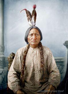 Sitting Bull (Tatanke Iyotake) 1831?-15th December 1890. Colourised by Gary Sheaf