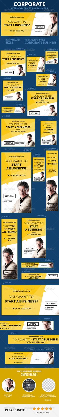 A set of Corporate Web Ad Marketing Banners is comes with 20 standard dimensions which also meet Google adwords banners sizes. It included all the layered psd file where you can easily change its text, color & shapes as per your requirements.: