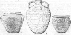 Ceramics Gnezdova: 1 - molded vessel, 2 - circular vessel, 3 - korchaga with ancient Russian inscription