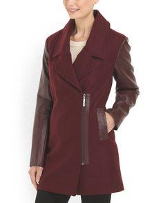 Wool Blend Faux Leather Coat