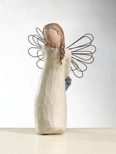 """The Willow Tree Thank You angel, cast from an original carving by Susan Lordi, brings the message """"Appreciating your kindness. Willow Figurines, Willow Tree Figures, Willow Tree Angels, Willow Tree Promise, Arts And Crafts, Christmas Ornaments, Christmas Gifts, Collection, Beautiful"""