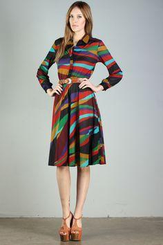 Vintage rainbow shirt dress. My latest find!